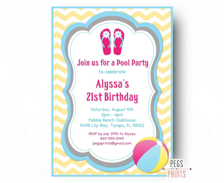 pool party birthday invitation pool party invitation girl. Black Bedroom Furniture Sets. Home Design Ideas