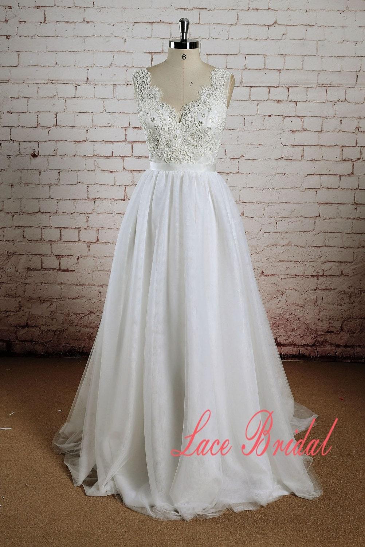Beading bodice wedding dress with tulle skirt a line bridal for A line skirt wedding dress