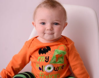 Baby Halloween Bodysuit or Shirt with Leg Warmers for Boy Personalized with Name -- Newborn to 18 Months