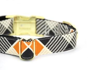 Plaid Dog Collar Burnt Orange Cream Black Autumn Fall Boy Dog Collar with Gold Tone Metal Buckle - Barney