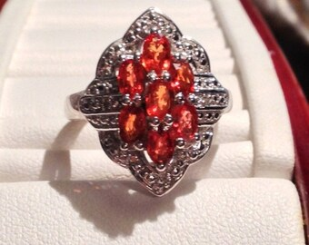 ON SALE - Art Deco Inspired Orange Sapphire and Diamond Ring - Sterling Silver Size 6