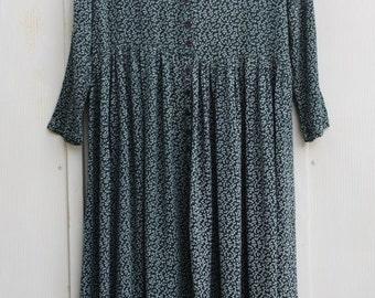 Green Calico Dress. 90s GRUNGE Button Down Dress. Indie FOLK Dress. Long Sleeve FLORAL Dress. 1990s Hipster Dress. Boho Hippie Bohemian.
