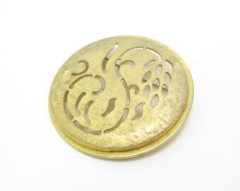 Vintage Flower Brooch, Open Work, Brushed Gold Tone, Round