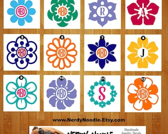 Flower Monogram Decal, Flower Monogram Car Decal, Monogram Decal, Flower Laptop Decal, Flower Car Decal- You choose image, color,  and size