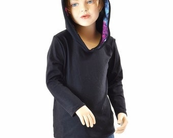Childrens Black Zen Knit Long Sleeve Hoodie with UV Glow Galaxy Hood Liner  Kids Sizes 2T 3T 4T and 5-12   152002