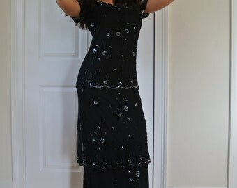Black Deco Dress Gatsby 1920s Inspired Beaded Sequined Flapper Party Gown/S
