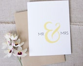 Mr & Mrs Wedding Congratulations Card / Elegant Wedding Congrats Card / For the Bride and Groom / Minimalist Wedding Card