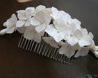 Hydrangea Hair comb Bridal hair accessories Bridal comb Bridal flower headpiece Bridal flower comb Bridal hair flower Wedding comb