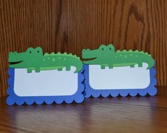 Alligator Place Cards / Alligator Food Tents / Alligator Treat Favor Bag Toppers - Alligator Shower / Alligator Party