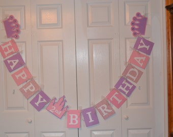 Princess Happy Birthday Banner Sign - Princess Birthday Party - Pink / Purple / Glitter