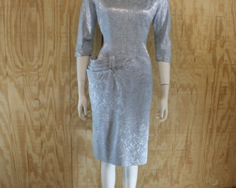 Vintage 1950's WASHINGTON ORIGINAL Chicago Silvery Blue Brocade 3D Hip Swag Pocket Rhinestone Bombshell Wiggle Dress M/L