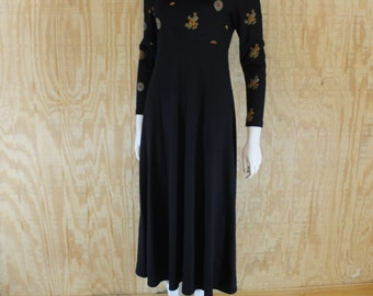 Vintage 1980's CHETTA B Peter Noviello Sherrie Bloom Black Wool Embroidered Jersey Knit Chic Tea Length Dress Small