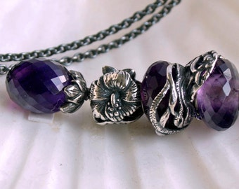 925 Silver Fantasy necklace with an african Amethyst