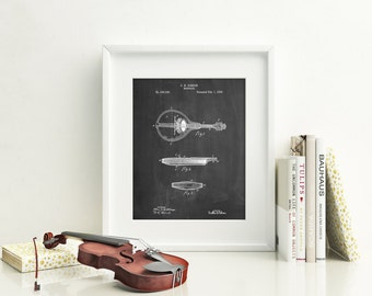 Gibson Mandolin A- Model Patent Poster, First Mandolin Patent, Music Room Decor, Bluegrass, Guitar Gifts, PP0137