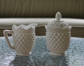 Vintage Fenton hobnail milk glass creamer and covered sugar bowl. 1971, 3606 MI