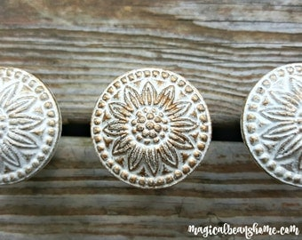 Farmhouse Chic Farmhouse Chic Dresser Knobs Decorative Knobs Rustic Drawer Pulls White & Gold Knobs Cabinet Knobs Floral Dresser Hardware