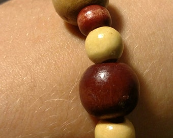Biege, Tan, and Red Brown Wooden Beaded Bracelet