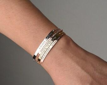 Inspirational bracelet,mothers day gift,Bridesmaid Gifts, Personalized Bar Bracelet, Custom Bar Bracelet, Roman numerals,Friendship bracelet