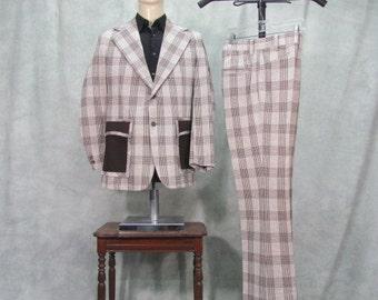 1970s Suit Disco Plaid Patch Pockets Polyester Vintage Suit 38R