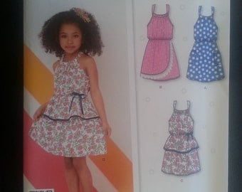 New Look 6222 Girls Summer Dress / Sundress 4 Styles sewing pattern sizes 3-4-5-6-7-8