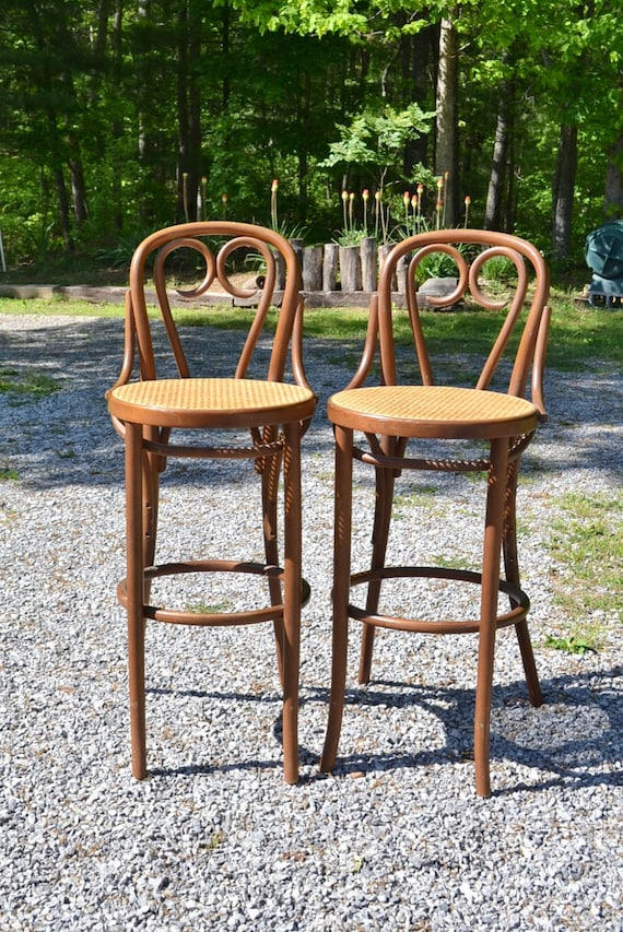 Vintage Thonet Bentwood Stool Set Of 2 Cafe Bar Stool Cane