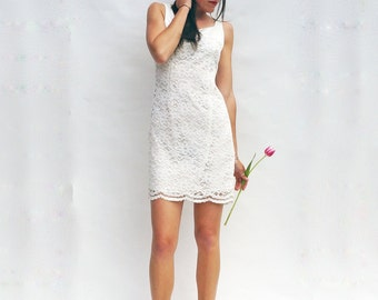 Simple Wedding Dress, Vintage 1990s White Lace Wedding Dress, Short Wedding Dress, Casual Wedding Dress, Boho Wedding Dress, Beach Wedding