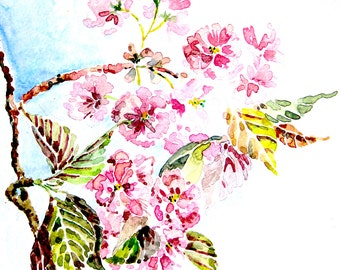 cherry blossom branch watercolor printable japanese garden