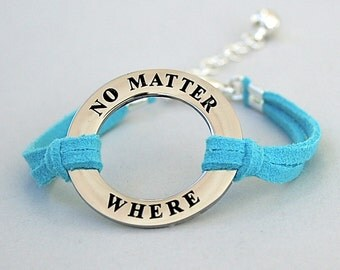 SALE - No Matter Where / reverse side  Class Of 2016 Bracelet, Faux Suede Leather Cord, Best Friend, Graduation Gift, ST755