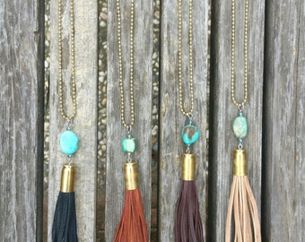 Bullet Leather and Turquoise Tassel Necklace / Tassel Necklace / Bullet Necklace / Leather Tassel / Western Necklace / Deerskin / Suede