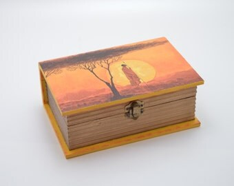 African wooden jewelry box, decoupage box, shabby chic box, african decoration, home decor, wooden box, art box, african sunset, sunset box