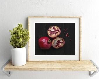 pomegranate v. three //  food photography print // kitchen decor // dining room // minimalist art print // rustic farmhouse wall art