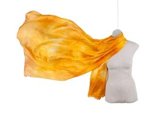 golden silk scarf /  yellow gold silk shawl   /  large yellow silk veil / Hand dyed / 100% habotai silk