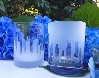 Chicago Skyline On The Rocks Glass Pair (Set of 2)