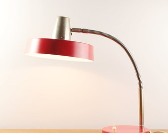 70s red table lamp - huge round shade