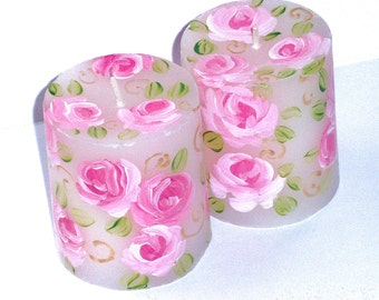Pink Rose Pillar Candle FREE SHIPPING Hand Painted Romantic Shabby Chic Decor