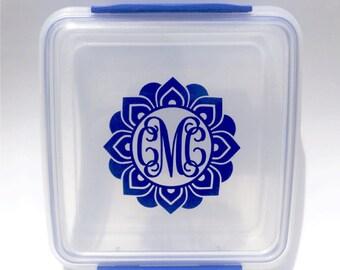 Sandwich Container Monogram Decal, Mandala Decal, Monogram Mandala