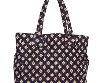 KANTHA Bag - Medium - Red and Yellow Crosses Pattern on Dark Blue