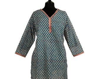 KURTA TOP – Steel blue with off white and rust motif - 100% lightweight cotton