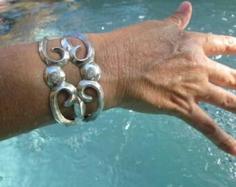 Navajo Sand Cast Sterling Silver Cuff Bracelet