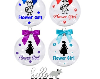 Flower Girl Ornament/ Personalized Christmas Ornament for Flower Girl Bridesmaid Maid of Honor Includes Gift Box