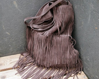 Women's shopper bag, tote with fringes, in grey