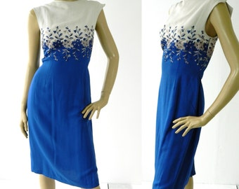1950s Vintage Ladies Embroidered Mad Men Wiggle Dress Size M