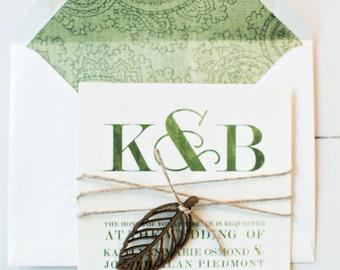 Modern green watercolor wedding invitation, leaf embellishment printable PDF template