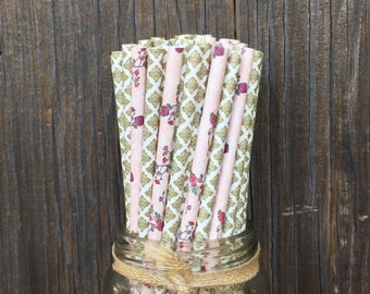 100 Pink Rose Flowered and Gold Damask Paper Straws- Wedding, Baby or Bridal Shower Supply