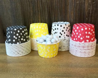 Mickey Theme Paper Snack Cups - Set of 48 - Polka Dot Candy Cup - Birthday Party - Mini Ice Cream Cup - Paper Nut Cup - Same Day Shipping