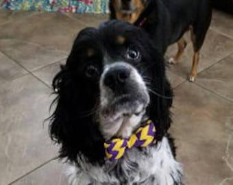 LSU Dog COLLAR & BOWTIE