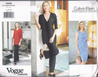 Size 14-18 CALVIN KLEIN Misses' Easy Sewing Pattern - V Neck Wrap Tunic Top Pants - Pants Or Skirt  Pattern - Vogue American Designer 1968