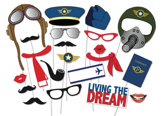 Airplane pilot photo booth props party set 21 piece for Top gun hat template