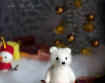OOAK Needle felted teddy bear brooch white polar bear miniature original handmade soft sculpture / doll house / MADE to ORDER by SaniAmani