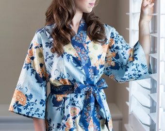 Womens Long Lined Kimono Robe • Plus size Bathrobe • Kimono style robe • Maternity Robe • Hospital Dressing gown •Floral BTQ Light Blue Navy
